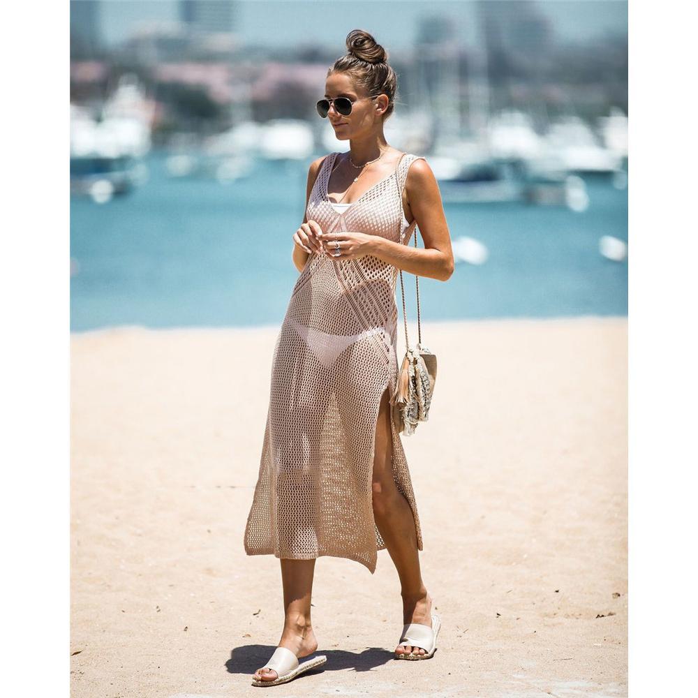 Femmes Casual Bikini Plage Blouse De Split Mode Découpe À Tricoter Camisole Ladys D'Été Vacances Soleil Chemise Femmes Sexy Blouse Vente Chaude