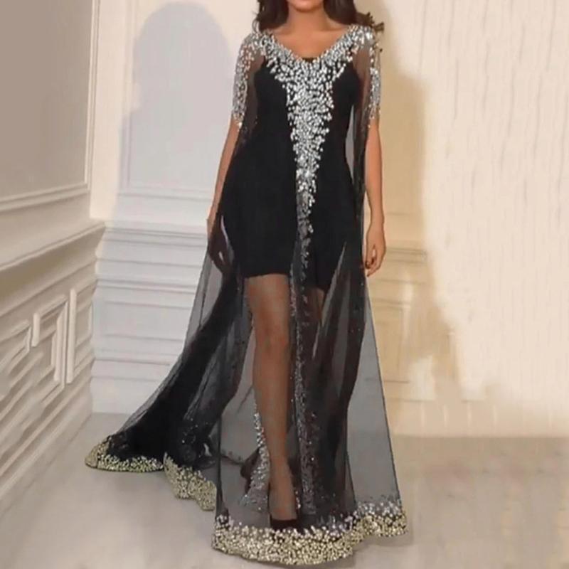 35 Femmes Plus Size Fashion manches courtes Sequin Mesh Costume Gowntwo Piece Mesh robe longue été 2020 Noir