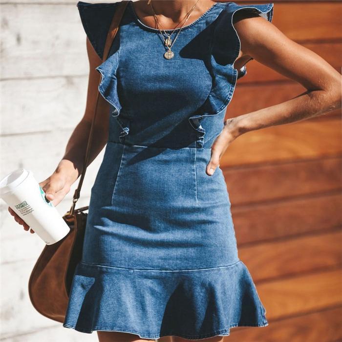 Estate delle donne del progettista denim vestiti aderenti Crew colletto senza maniche sexy vestiti di stile solido di colore petalo Sleeve Dress