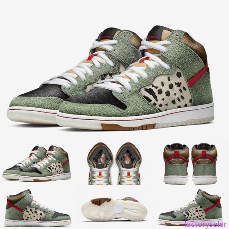 Nouvelle arrivée de haute qualité SB Dunk High Dog Walker Chaussures de basket pour Hommes Formateurs Vert Noir Marque Designer Sport Sneakers TAILLE 40-46