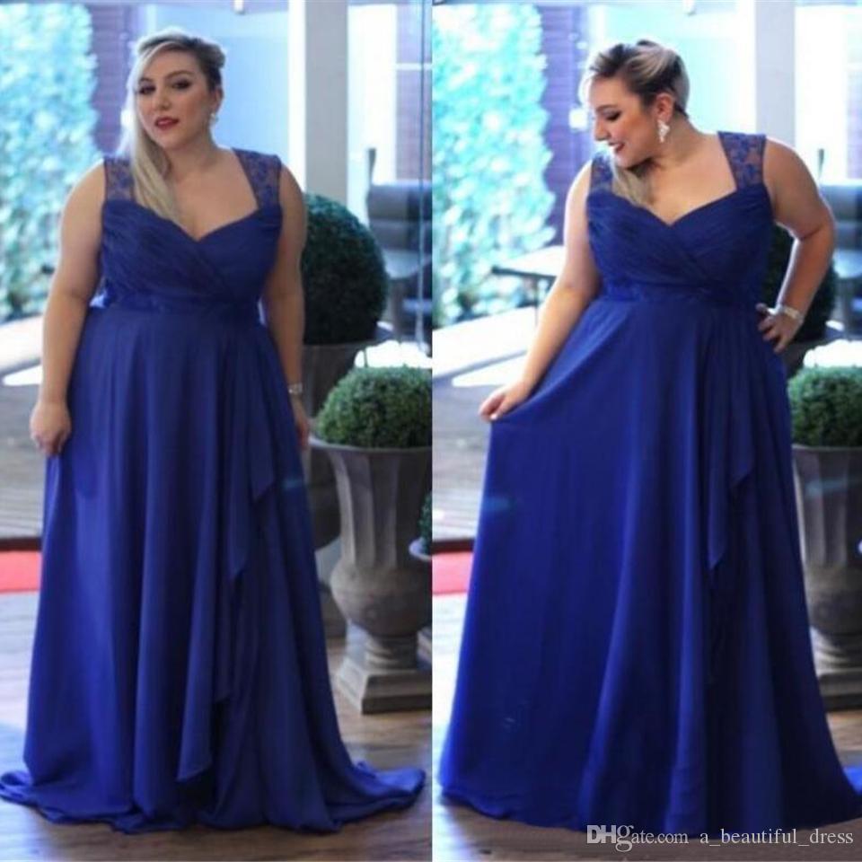 플러스 사이즈 맞춤형 Chiffon 댄스 파티 드레스 로얄 블루 스파게티 스트랩 정식 이브닝 가운 들러리 신부 들러리 드레스 어머니의 드레스 SD3356