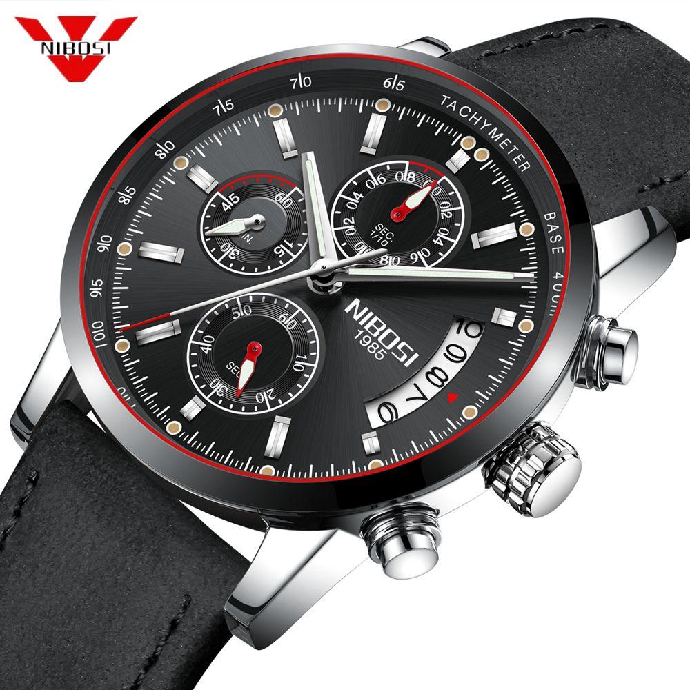 NIBOSI Mann-Uhr-Spitzenmarken Luxus Male Leder wasserdicht Sport-Quarz-Chronograph Militär Armbanduhr Uhr Relogio Masculino