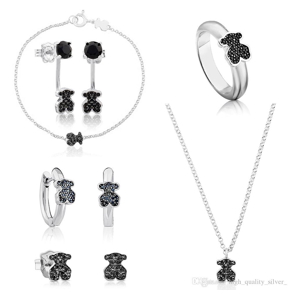 2019 100 925 Sterling Silver Spinel Stud Earrings Sweet Fashion