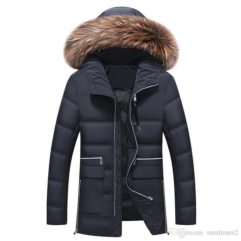 2019 Новая Зимняя куртка Мужчины Big Real меховой воротник с капюшоном утка вниз куртки Толстая вниз куртки мужчин теплое пальто 2XL 3XL 027