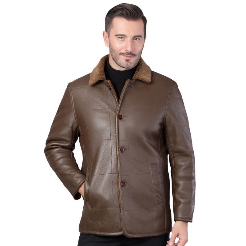 Sonbahar Erkek Yün Kürk Deri Ceket Kış Yüksek Kalite Sıcak Yumuşak Sheepskin Dış Giyim Casual Plus Size Erkekler Kürk