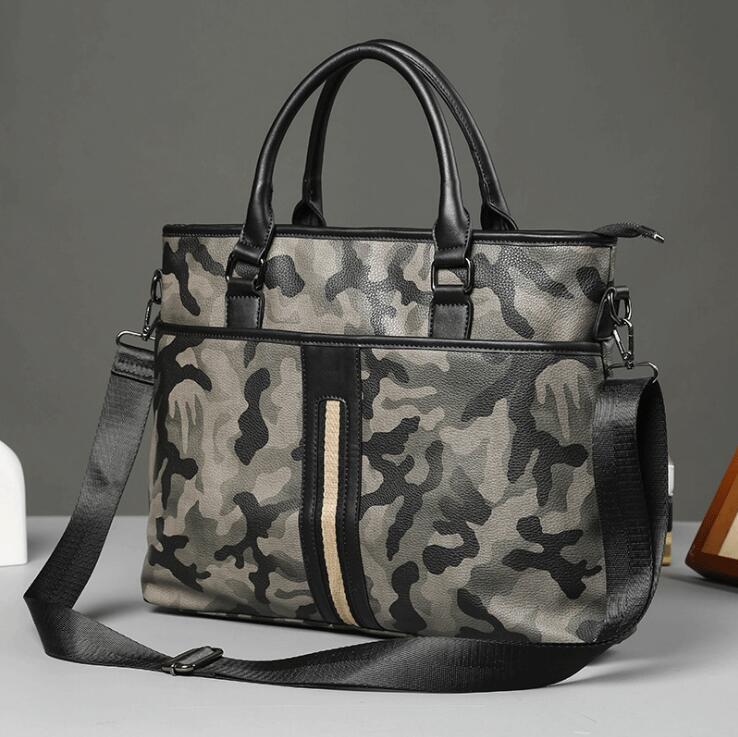 men handbag street fashion striped Ribbon decorative men bag fashion camouflage leather business briefcase leisure leather fashion bag