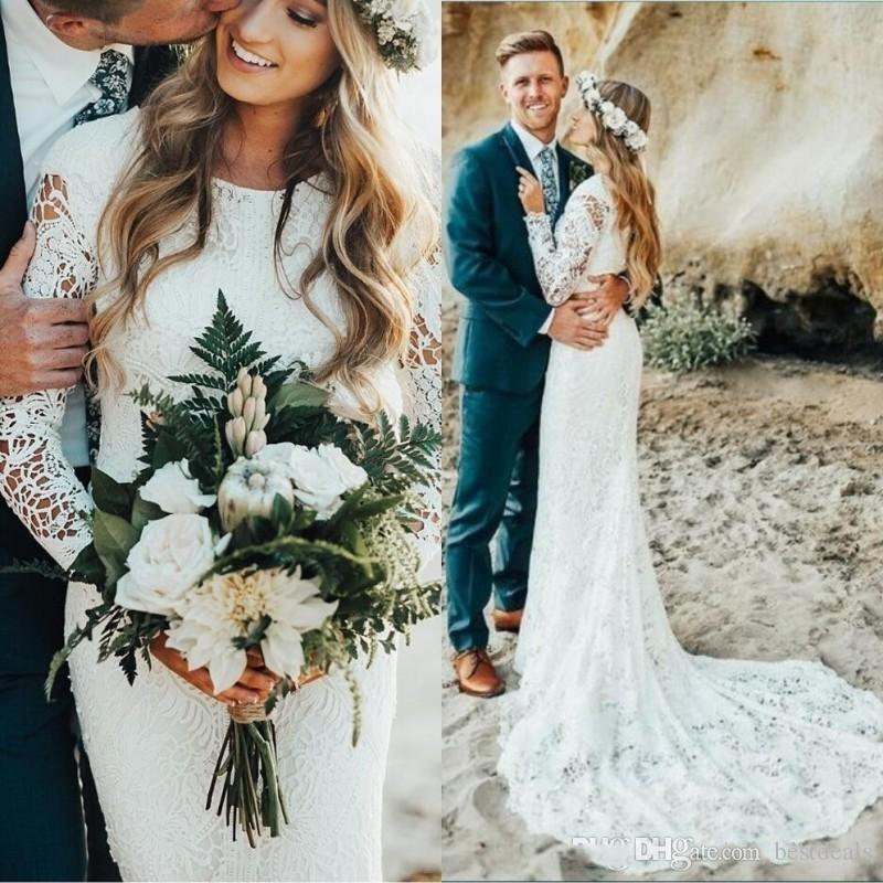 2020 Beach Full Lace Wedding Dresses Long Sleeves Boho Plus Size Sweep Train Bohemian Wedding Dress Country Bridal Gowns vestidos de novia