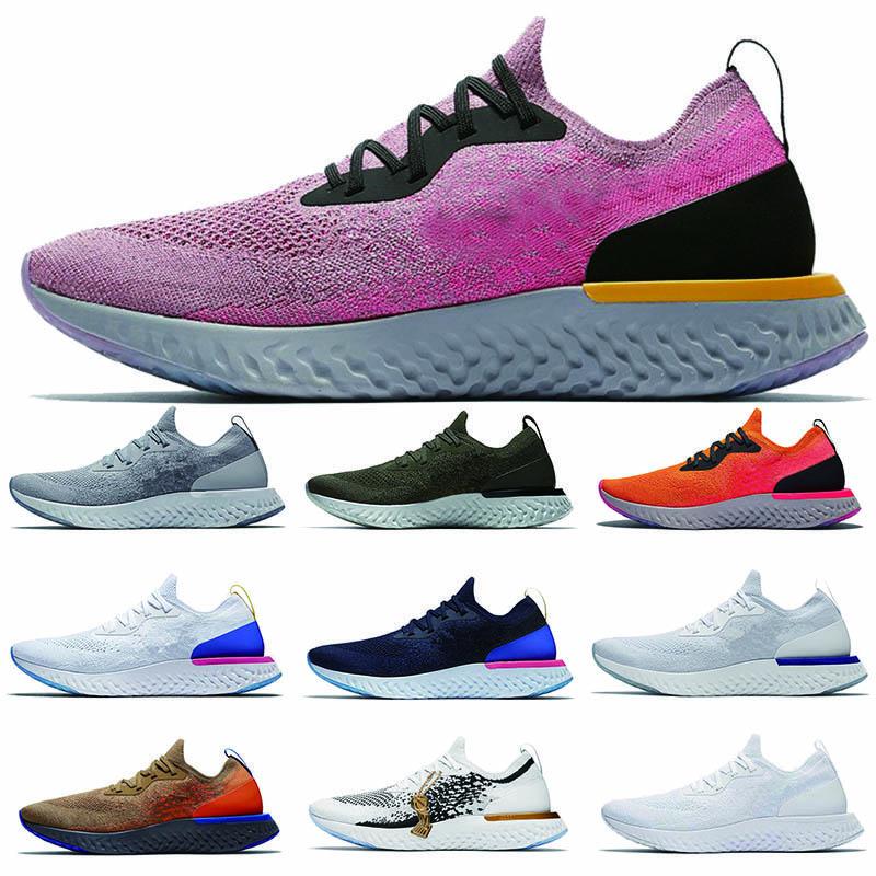 Yeni epik Anında Git Fly S0UTH koşu ayakkabıları erkekler Belçika gerçek yarışçı mavi platin Mavi Glow kadınlar beyaz spor ayakkabısı bulut tepki