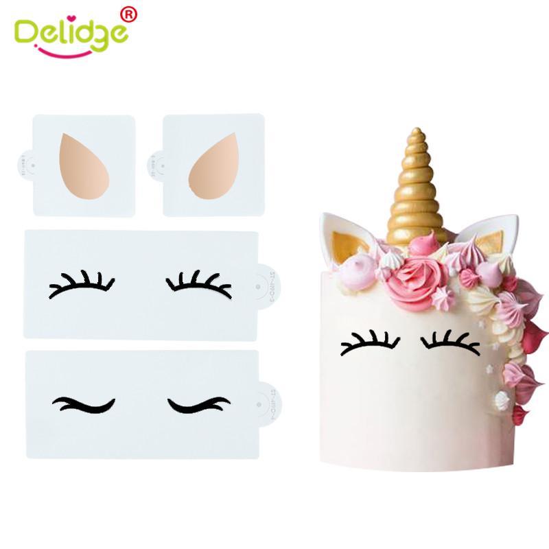 Delidge 3PCS / 설정 유니콘 EarEye 실리콘 퐁당 금형 케이크 장식 초콜릿 과자 금형 손으로 그린