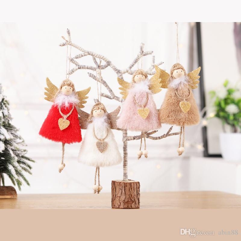2019 nuevas 2 PC del regalo Feliz Navidad lindo colgante de ángel de Navidad regalos de Navidad árbol de Navidad ornamento de la decoración del hogar del Año Nuevo