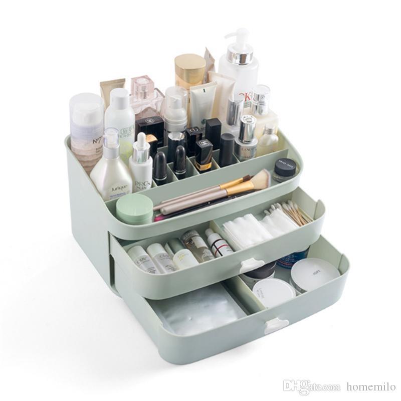 3ca4dc0a4 ... Plástico Cajón de Cosméticos Maquillaje Organizador Maquillaje Caja de  Almacenamiento de Contenedores Titular de Cofre de ...