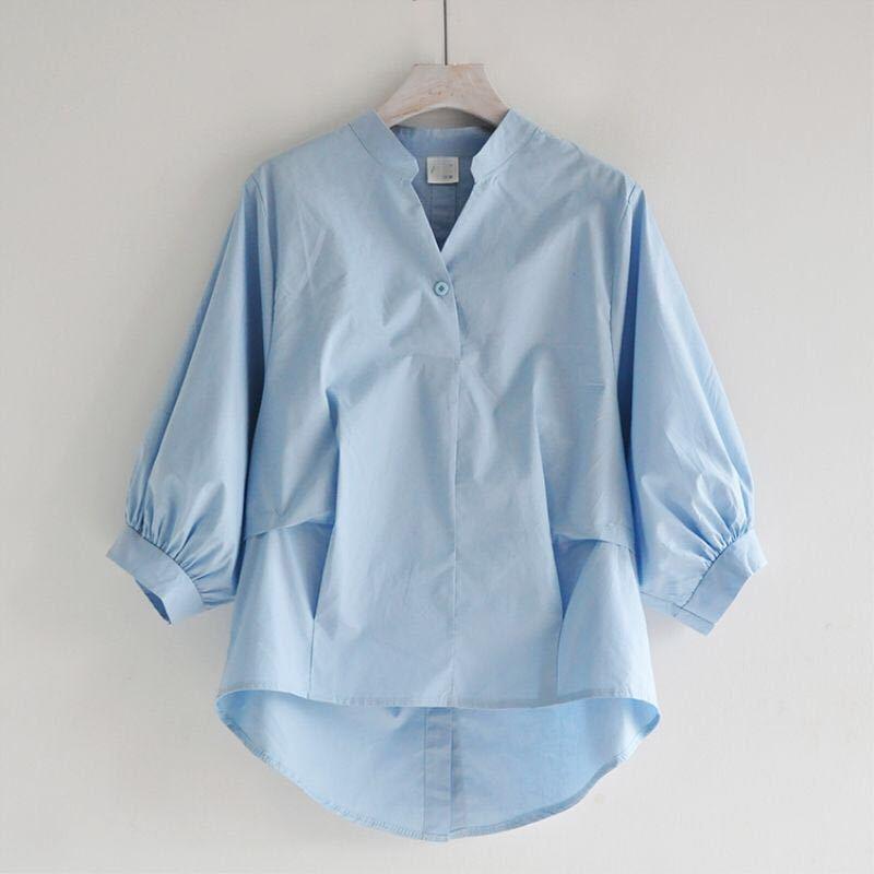 Eté Corée Mode Femme Blanc V-cou shirt Taille Plus lanterne manches lâche Blouses fendue dans le dos Bouton Chemises Hauts pour dames D326 Y200422
