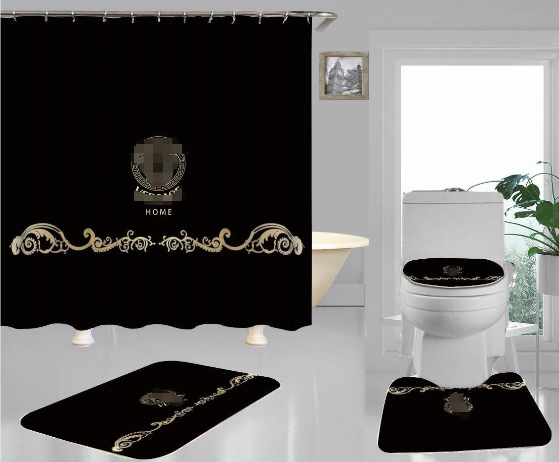 Black Classic Toilet Seat Cover Gold Goddess Print Shower Curtain Non-slip Bathroom Floor Mat Sets For European Style Home Decorate