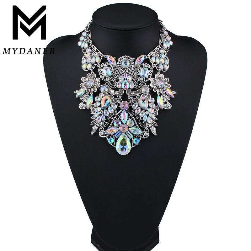 MYDANER marca de moda strass coloridos Bohemian Boa Qualidade Chunky Collar Declaração Mulheres Choker Maxi Colar L18101004 Jóias