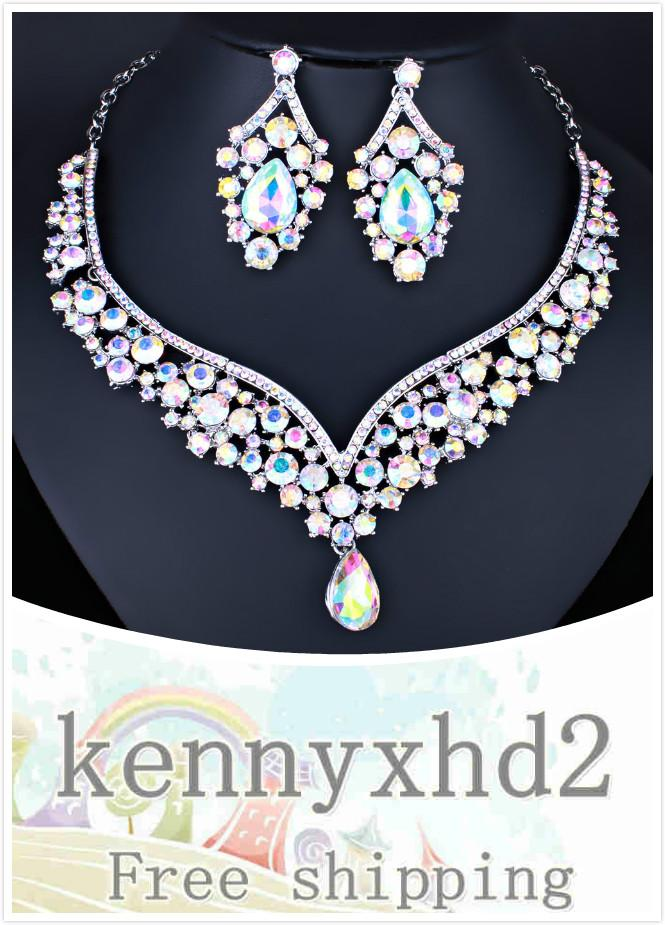 Dinner Jewellery New exquisite color crystal glass water drop necklace earrings wedding jewelry full of bridal jewelry