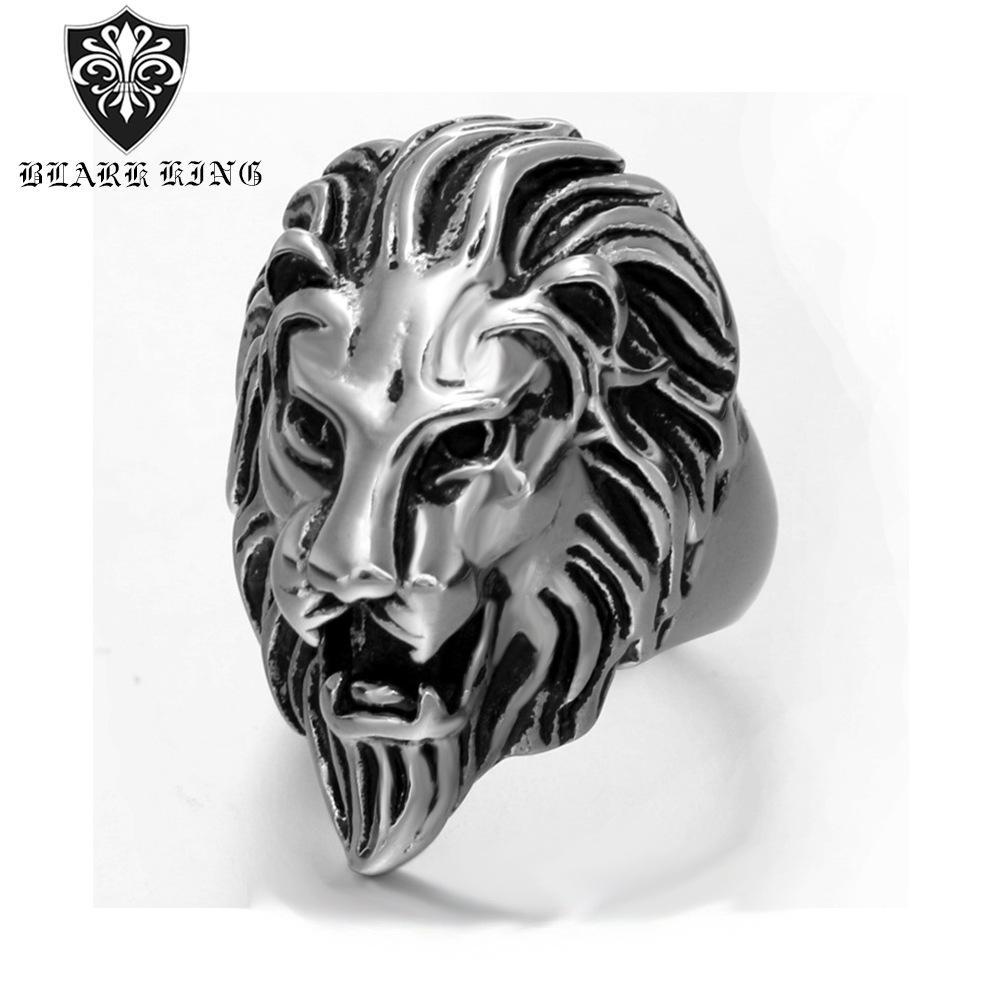 2020 New Cross-Explosion-Art-europäische und amerikanische Herren Ring europäische und amerikanische Domineering Gold-Casting Lion Titan Stahl Elegante Ein
