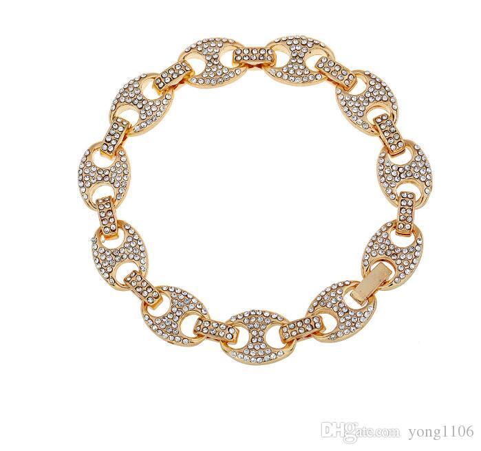 De lujo de Bling del diseñador agua de la aleación del diamante de la mano conectado Hip hop pulsera joyas de moda diamante de la personalidad incrustaciones de café grano de pulsera
