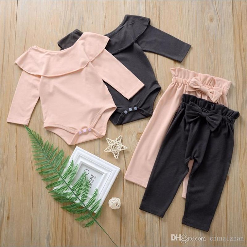 Baby Girl Clothes Infant Girls Ruffle Rompers Bow Pants 2pcs Set Solid Newborn Outfits Boutique Baby Clothing 3 Colors DW4695