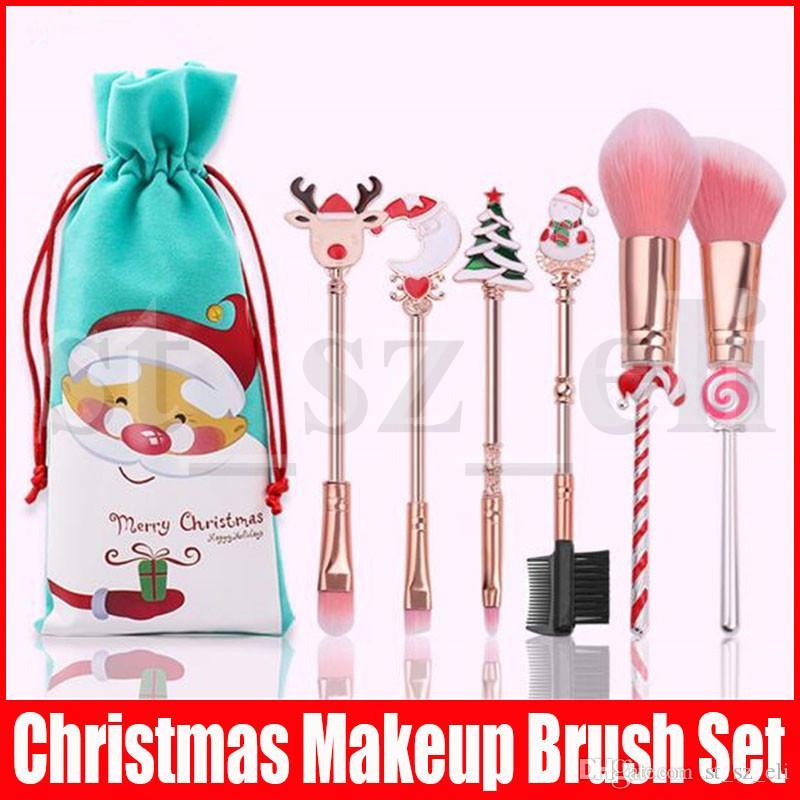 Christmas Gift Portable 6pcs/set Makeup Brush Set Elk Snowman Tree Moon Decorations Colorful Eyeshadow Lips Blush Powder Make Up Brush Tools