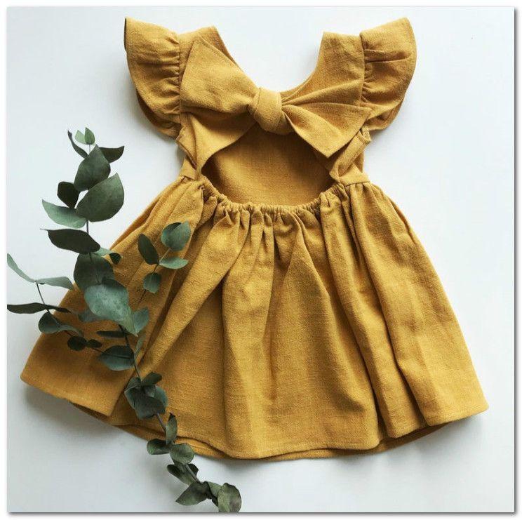 Toddler Kids Baby Girls Linen Button Ruffle Dress Solid Party Princess Dress UK