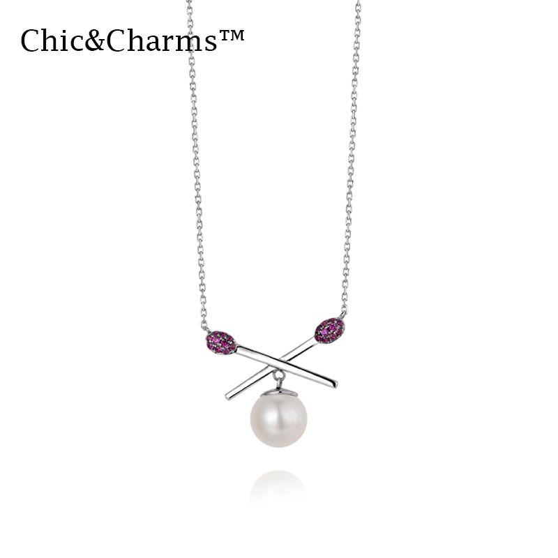 gioielli ChicCharms 9K14K reale oro bianco perla rubino collane partita traversa di modo 2019 per le donne