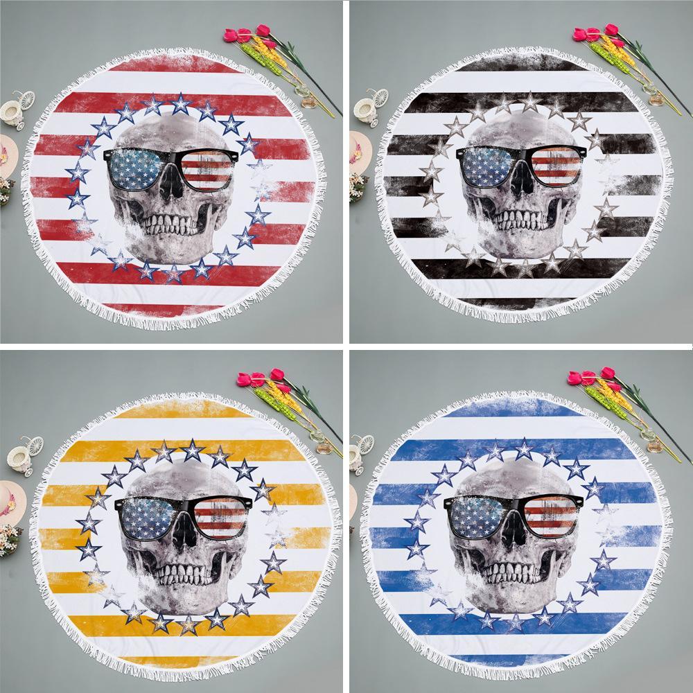 150cm Serviette de plage ronde Microfibre épais doux super Absorbent Tassel Serviettes Skull Drapeau Impression plage Serviettes de bain Toallas 6 Designs