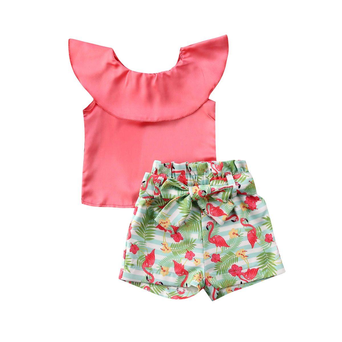 2-7Years dupla camadas gola mangas Tops + Shorts Flamingo com Belt 2pcs set para a criança crianças meninas roupas de verão Outfits