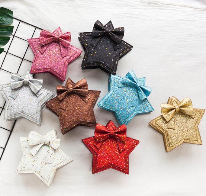 여자 아기 장식 조각 어깨 가방 다섯개 스타 지갑 아이 오각형 메신저 가방 사랑스러운 공주 Bowknot 가방 지갑 GGA2494