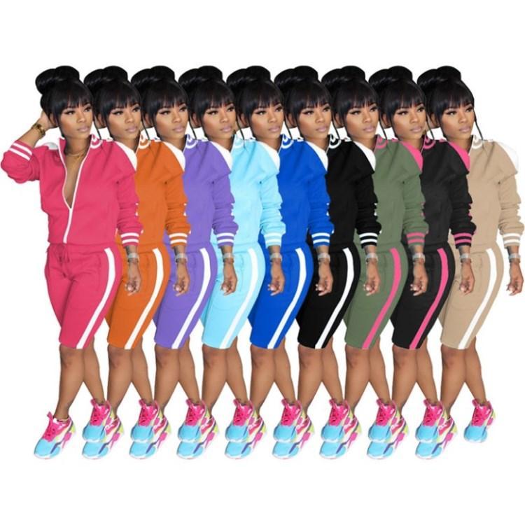 manga larga para mujer pantalones cortos de la chaqueta de chándal de deportes legging 2 piezas traje conjunto sudor capucha prendas de vestir exteriores medias cortas trajes klw3990