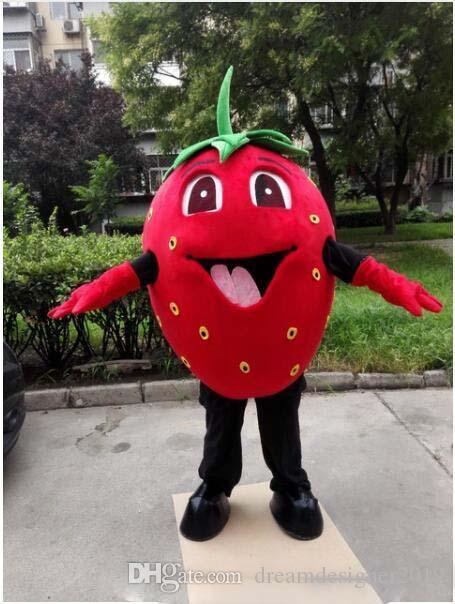Traje de la mascota de la fresa de la sonrisa de Halloween Dibujos animados de alta calidad de la fruta Anime tema del personaje Fiesta de Carnaval de Navidad Disfraces