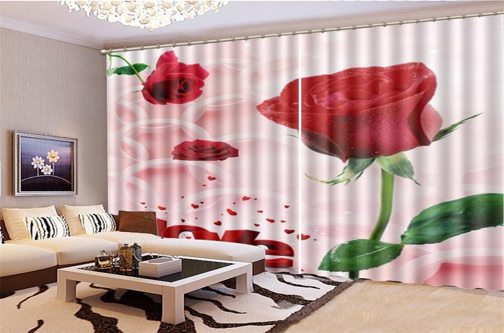 3d Vorhang Fenster Promotion rote Rose als Symbol für Liebe Wohnzimmer Schlafzimmer Schöner Practical Blackout Vorhänge