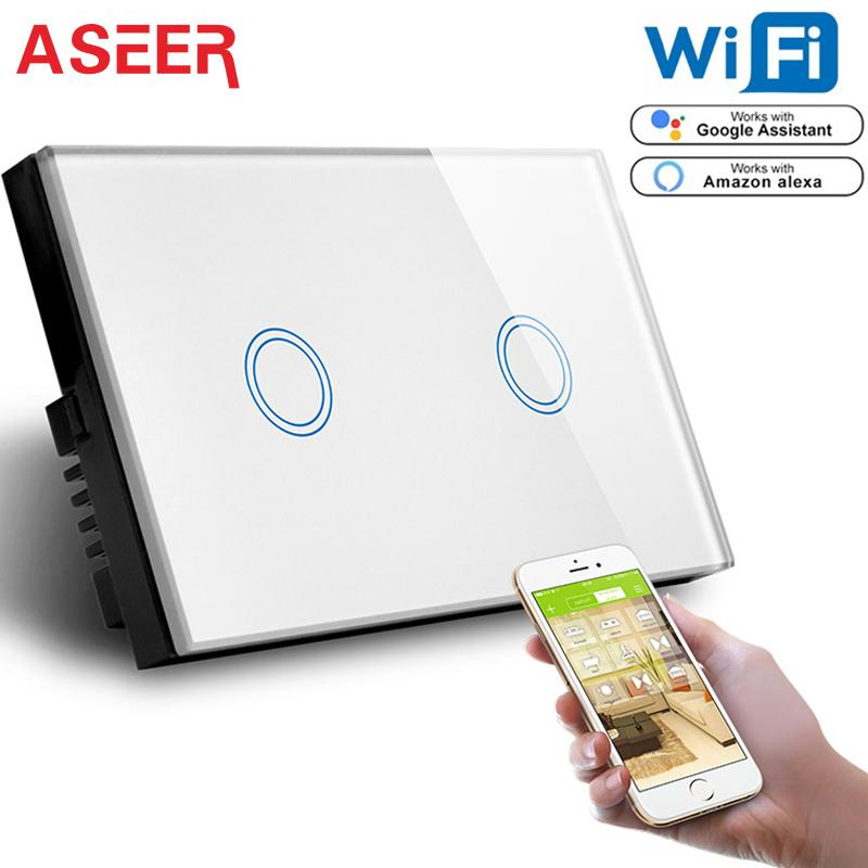 ASEER US Standard 2 Gang Wifi Wall Touch Switch,Capacitive touch Glass Panel Wall Light Switch Support alexa Google Assistant T200605