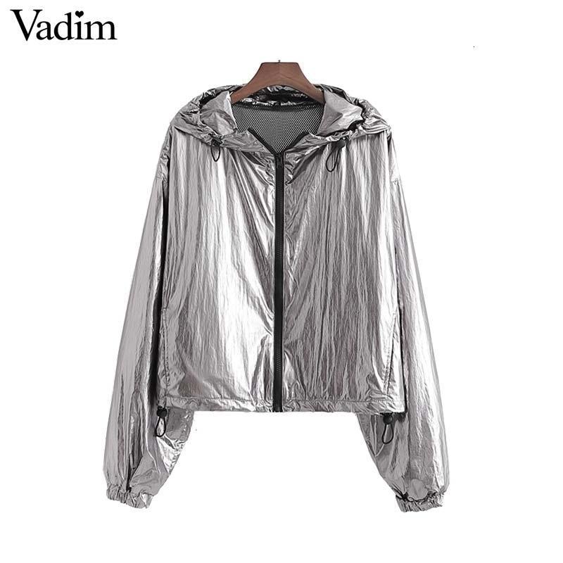 Vadim moda mujer sólida cremallera chaqueta con capucha volar abrigo largo bolsillos manga femenina floja elegante tops básicos CA545 V191022