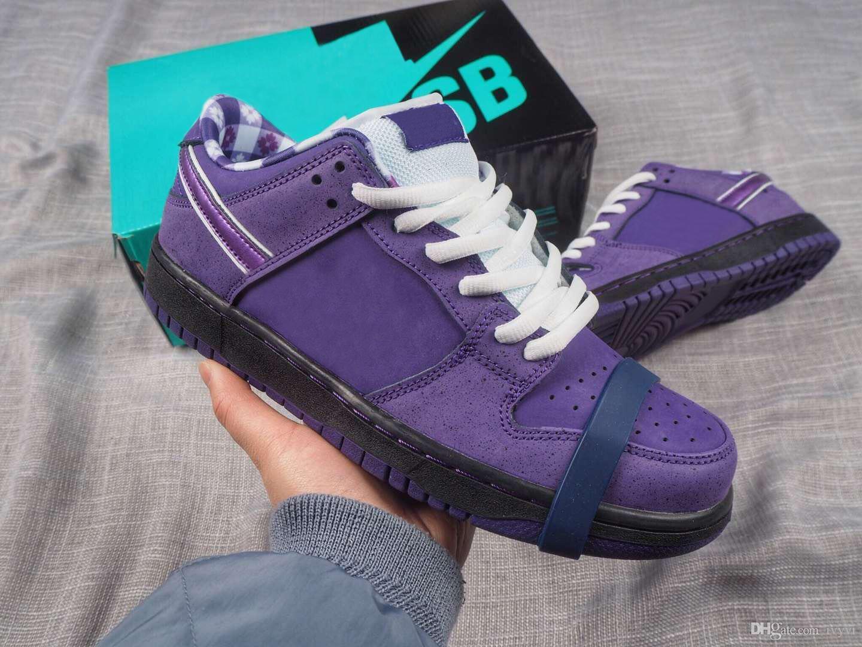 2018 Conceptos versión SB Dunk Low púrpura langosta BV1310-555 hombre y zapatos de mujer Casual Sport zapatillas de deporte con la caja de calidad Auténtico