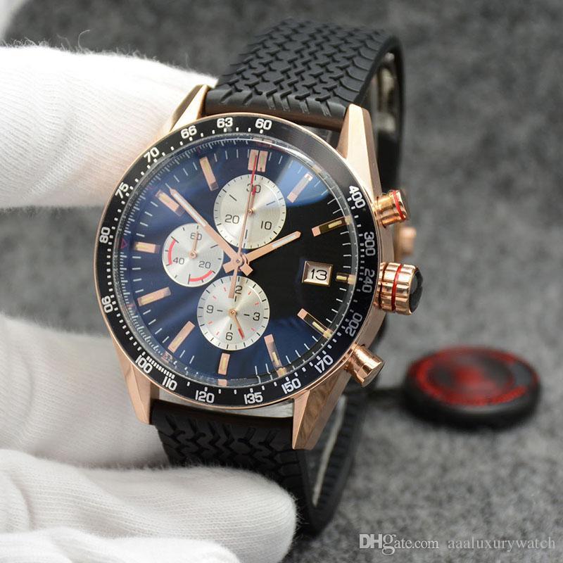 Siyah Rubber Band ve dizin Saat işaretleri Açık Kuvars Chronograph Doğru Altın Vaka tarihi Mens Kol saatı 43.5 mm Siyah Dial