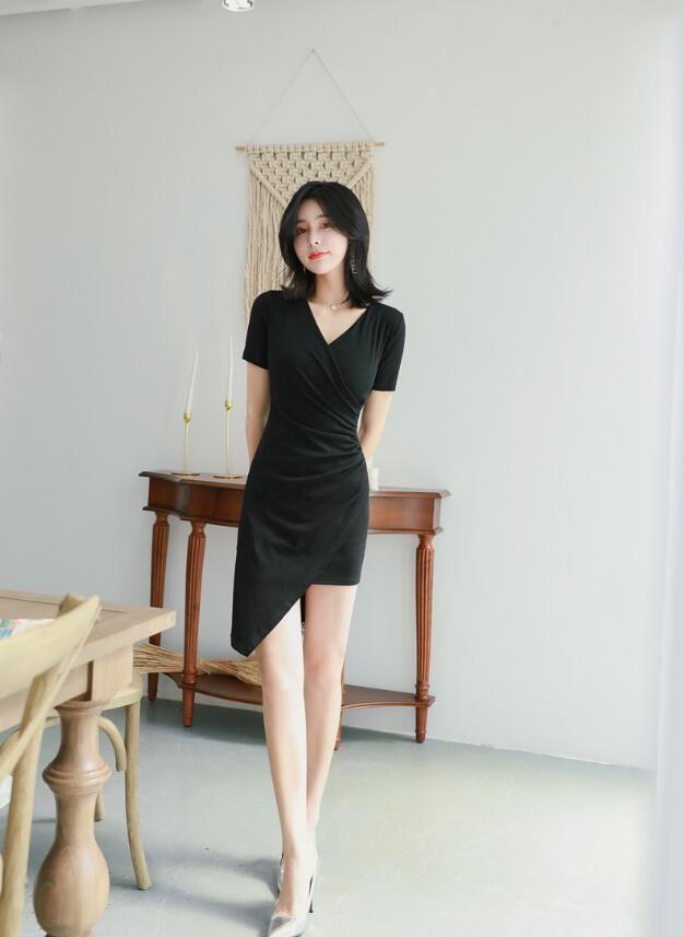 2020 summer new women's fashion celebrity sexy V-neck slim high waist bag hip beveled irregular dress 1258