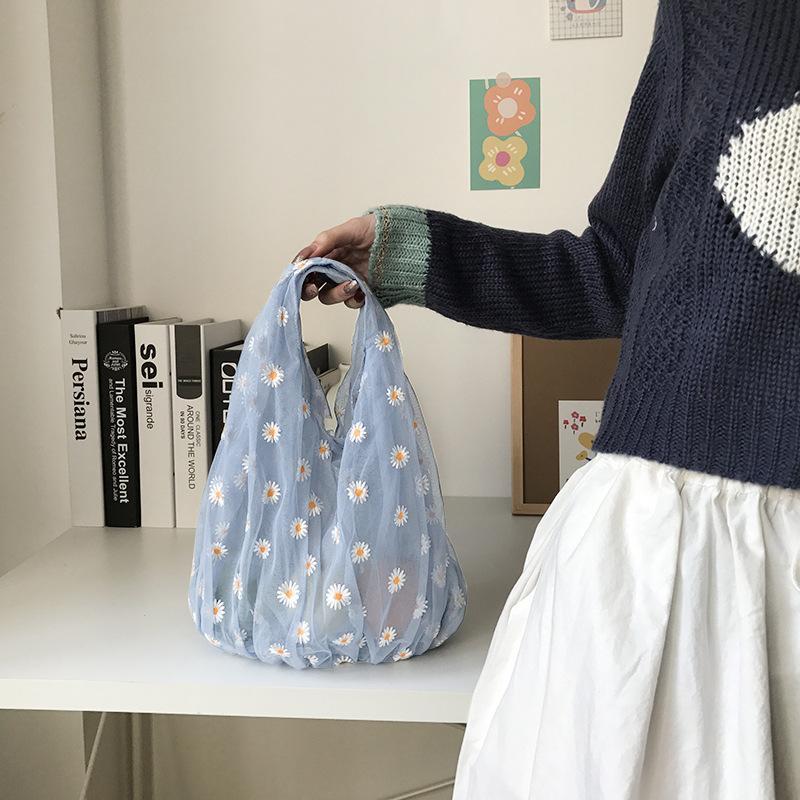 4 Color 2020 Spring Women Small Transparent Tote Mesh Cloth Bag Daisy Embroidery Handbag High Quality Eco Fruit Bag Purse For Girls