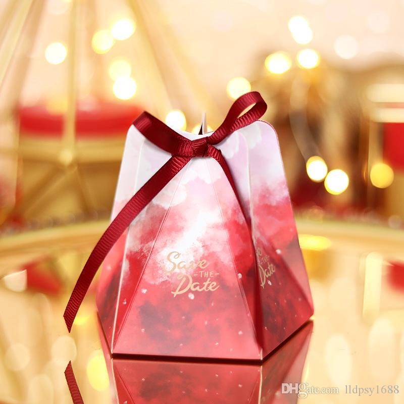 Avrupa Bebek Duş Düğün Şeker Hediye Kutuları Olaylar için Pentagram PaperGift Çanta Düğün Hediyeleri Şekeri Kutusu Noel Partisi Dekorasyon