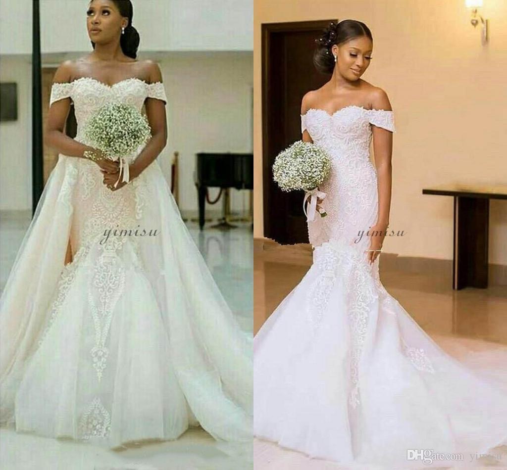Gorgeous Mermaid Wedding Dresses With Detachable Train Off Shoulder Lace up Back Sweep Train Garden Chapel Bridal Gowns vestidos de novia