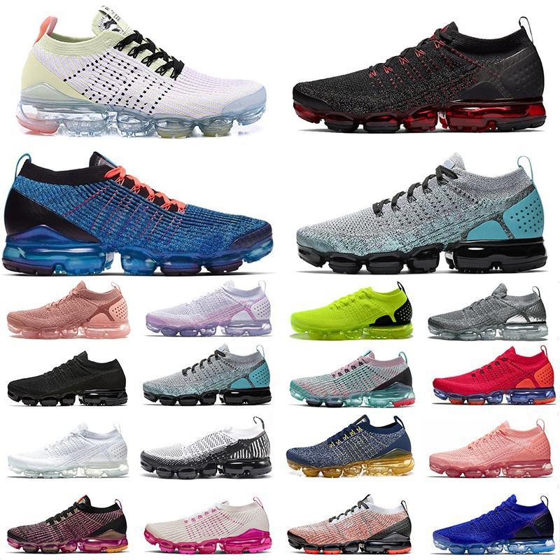 Nike Air Vapormax Flyknit Nueva Aire 2.0 Fly 3.0 zapatos corrientes azul Furia Todo Negro Triple blanca diseñador de los hombres Tamaño Deportes zapatillas de deporte 36-46 Trainer