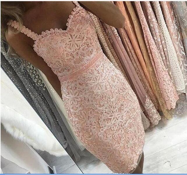 Дешевой Короткой мини коктейльного платья партия lhbim полного шнурок аппликация колена бретельки баска оболочка Homecoming платье