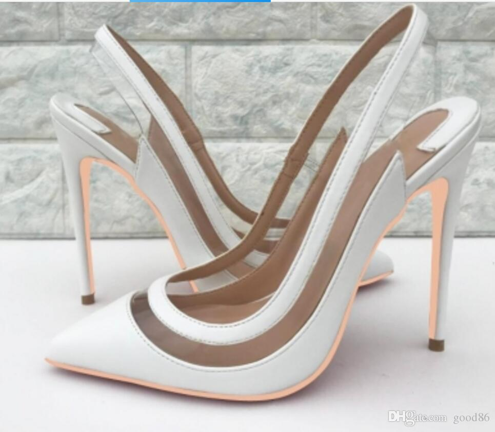 2019 White PVC Transparent Glass Adhesive Coloured Back-space Sexy Tip Women's High-heeled Shoes Fine Heels Sandals 10cm large size 34-44