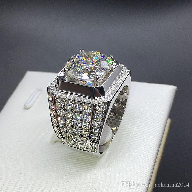 Stunning New Arrival Fashion Luxury Jewelry 925 Sterling Silver White Sapphire Round Cut CZ Zirconia Party Women Wedding Engagment Men Ring
