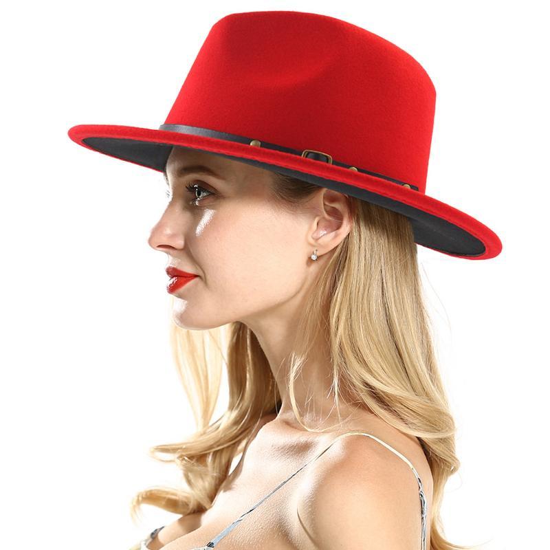 2020 neue Unisex Flache Brim Wollfilz Fedorahüte mit Gürtel Rot Schwarz Patchwork Jazz Formal Hut Panama Cap Trilby Chapeau für Männer Frauen