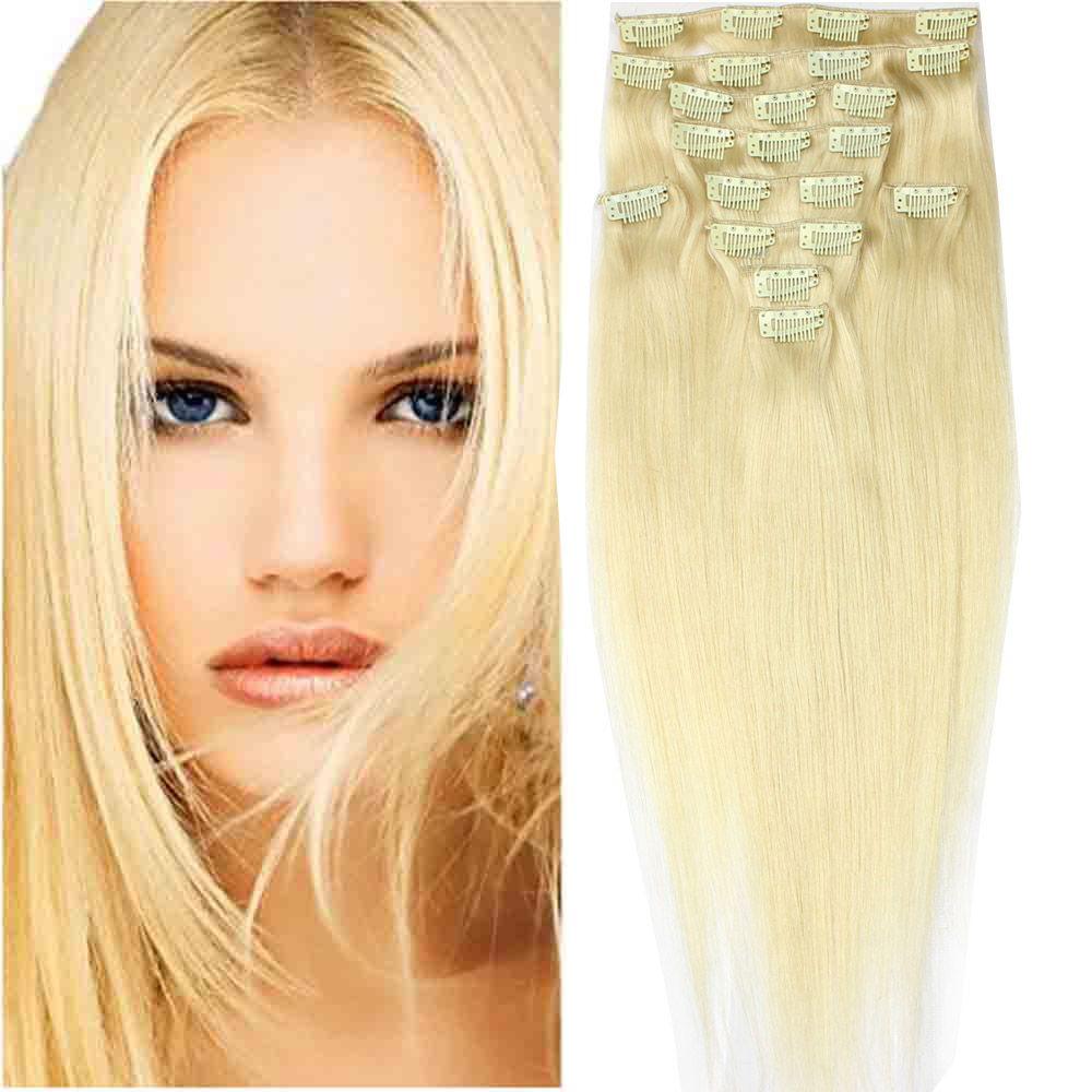 Billiger Clip im Haareinschlag Malaysische natürliche gerade brasilianische 8pcs / set 613 blonde indische peruanische Clips auf Menschenhaarverlängerungen