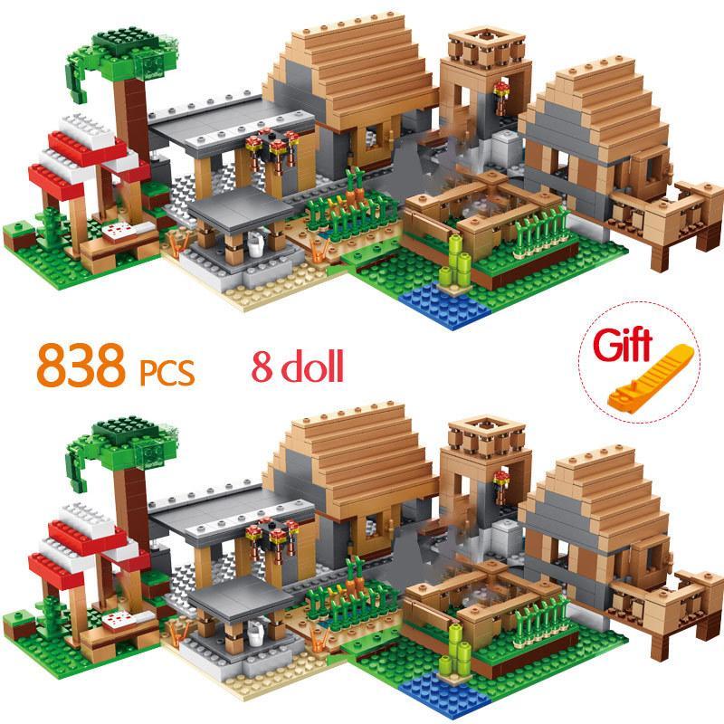 838pcs Os Farm Cottage Building Blocks suportados Casa Figuras Tijolos Define Brinquedos Presentes Crianças Brithday Crianças CX200613