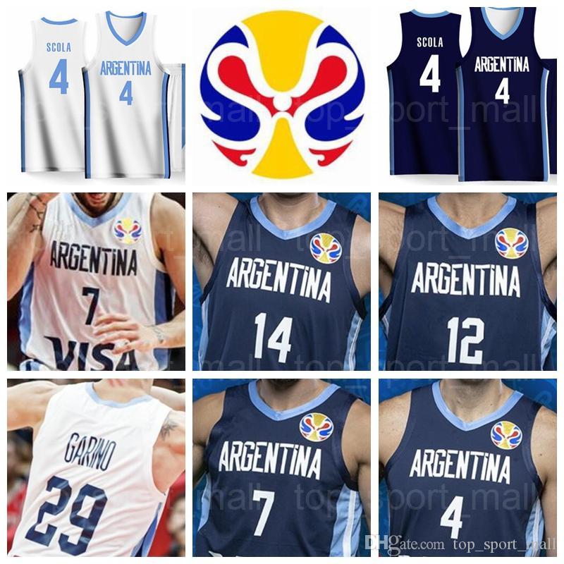 2019 Copa do Mundo Equipe Argentina Jerseys Basquetebol 4 Luis Scola 29 Patricio Garino 7 Facundo Campazzo 14 Gabriel Deck 8 Nicolas LapoRovittola