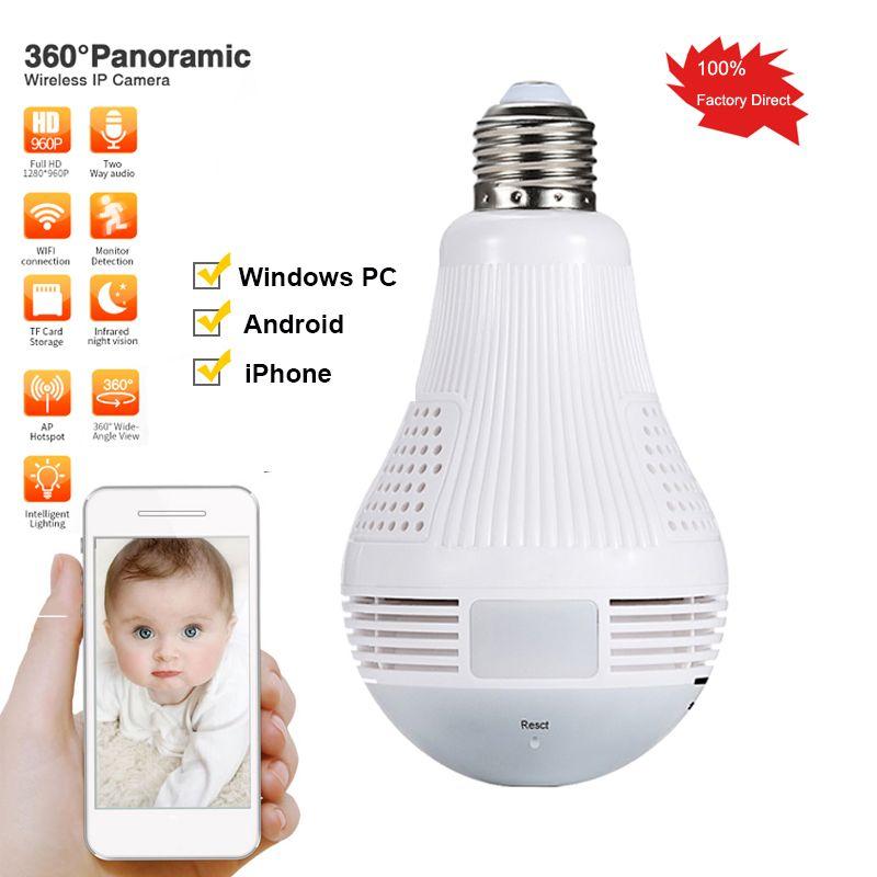 960P Bulb Light IP camera 360 Degree Wireless Wifi Camera 1.3MP Home Video Surveillance Security CCTV Cam