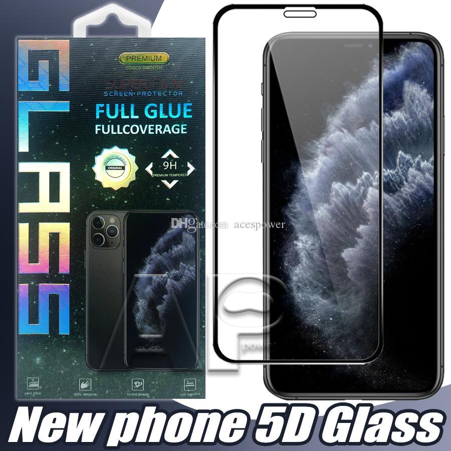 Full Cover Colla vetro temperato per Iphone 11 Schermo Pro XR XS Max Protector per Samsung S10E A20E A2 NUCLEO J6 nero