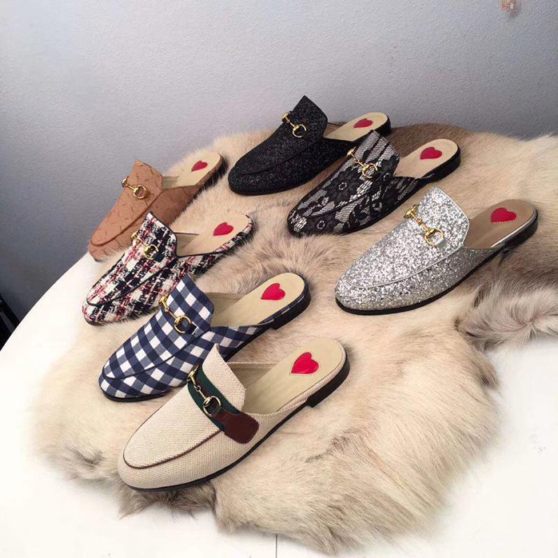 Frauen Designer-Schuhe Pelz Pantoletten Slipper Slipper-Schuhe 100% Tiere Echtes Leder Princemetallkette Lederschuhe mit Kasten US 11,5 s01